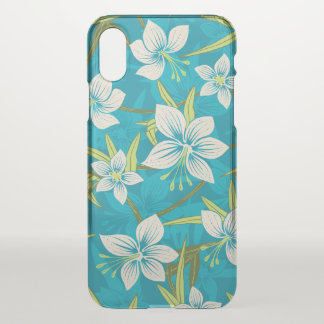 Anaina Hou Hawaiian Tropical Floral - Teal iPhone X Case