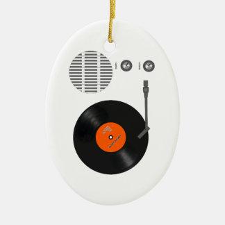 Analog record player ceramic ornament