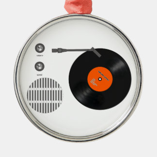 Analog record player metal ornament
