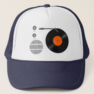 Analog record player trucker hat