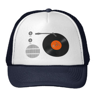 Analog record player trucker hat