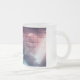 Analytics Technology with Data Moving Frosted Glass Coffee Mug