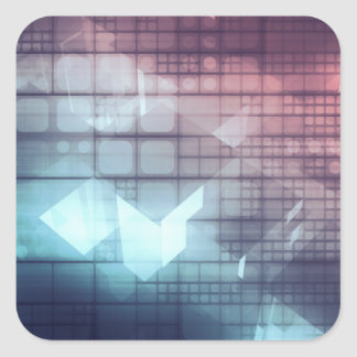 Analytics Technology with Data Moving Square Sticker