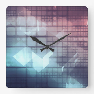 Analytics Technology with Data Moving Square Wall Clock