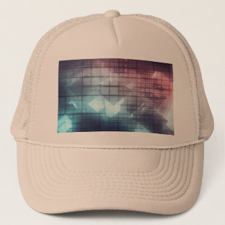 Analytics Technology with Data Moving Trucker Hat