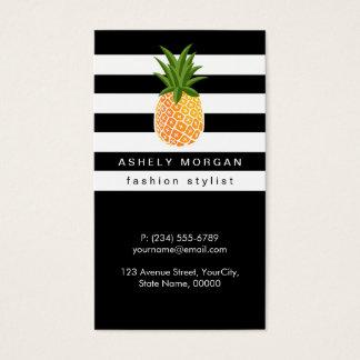 Ananas élégant avec les rayures blanches noires cartes de visite