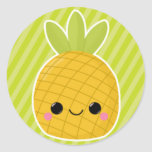 Ananas sur les rayures vertes adhésif rond