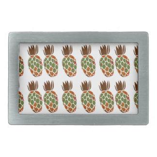 Ananases on white Design Ethno Rectangular Belt Buckles