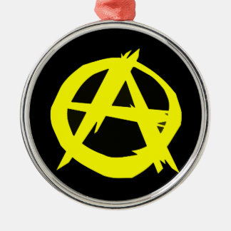 Anarcho Capitalism Black and Yellow Flag Metal Ornament