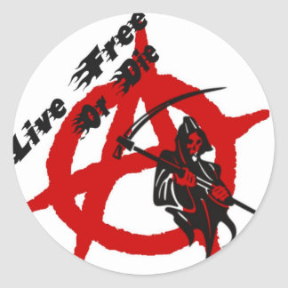 Anarchy Grim Reaper Classic Round Sticker