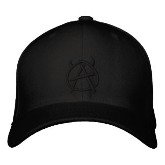 Anarchy Logo Black on Black Embroidered Hat