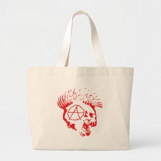 Anarchy Mohawk Skull Large Tote Bag
