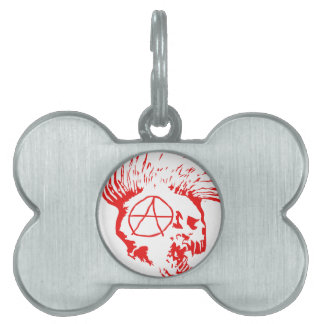 Anarchy Mohawk Skull Pet Name Tags