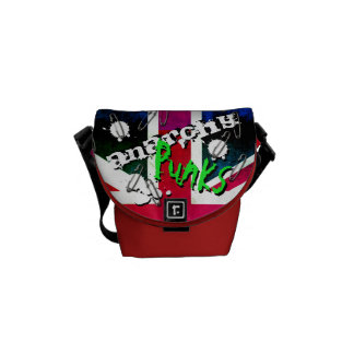 Anarchy Punks Not Dead Grunge Union Jack Messenger Bags