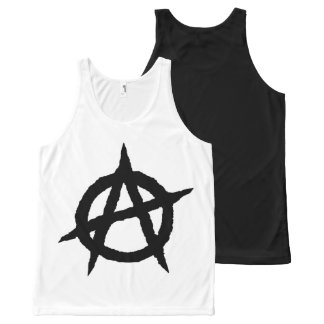Anarchy symbol black punk music culture sign chaos All-Over-Print tank top
