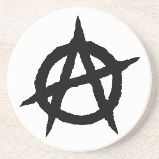 Anarchy symbol black punk music culture sign chaos coaster