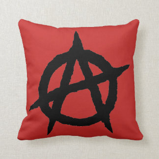 Anarchy symbol black punk music culture sign chaos throw pillow
