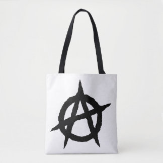 Anarchy symbol black punk music culture sign chaos tote bag