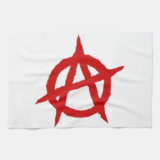 Anarchy symbol red punk music culture sign chaos p kitchen towel