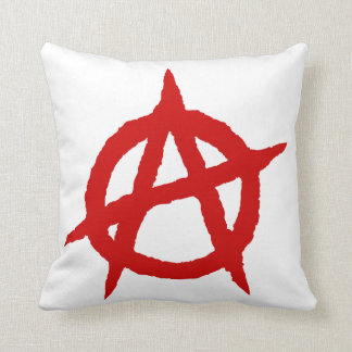 Anarchy symbol red punk music culture sign chaos p throw pillow