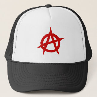 Anarchy symbol red punk music culture sign chaos p trucker hat