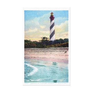 Anastasia Light House Vintage Postcard Restored Canvas Print