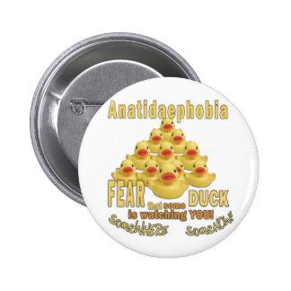 ANATIDAEPHOBIA - FEAR OF DUCKS!  Rubber Duck 2 Inch Round Button