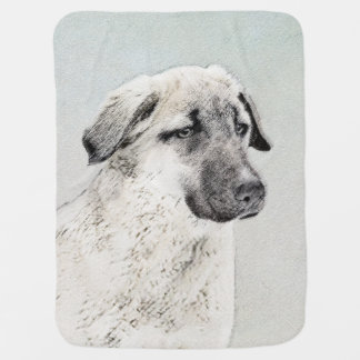 Anatolian Shepherd Painting - Original Dog Art Baby Blanket