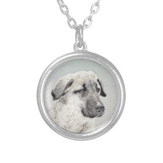 Anatolian Shepherd Painting - Original Dog Art Silver Plated Necklace