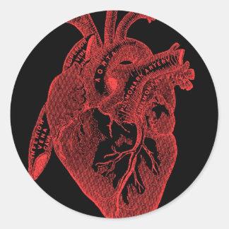 Anatomical Black Heart Classic Round Sticker