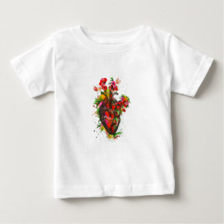 Anatomical heart with flowers, floral heart baby T-Shirt