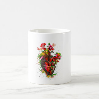 Anatomical heart with flowers, floral heart coffee mug