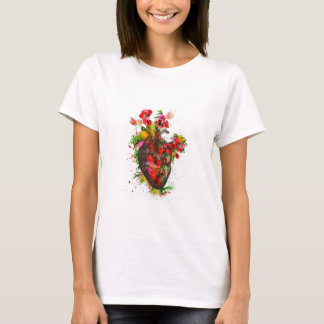 Anatomical heart with flowers, floral heart T-Shirt