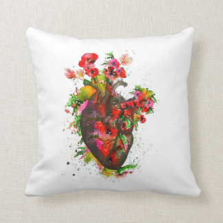 Anatomical heart with flowers, floral heart throw pillow