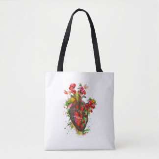 Anatomical heart with flowers, floral heart tote bag