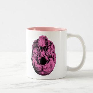 Anatomical Human Skull Base Pink Two-Tone Coffee Mug