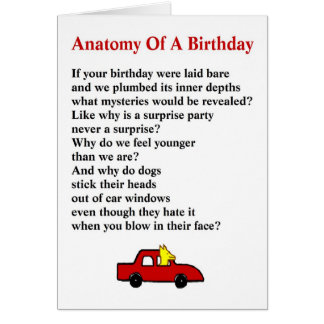 Anatomy of a Birthday - a quirky birthday poem Card