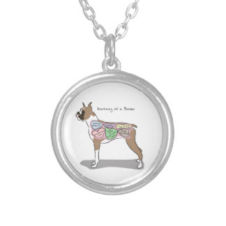 Anatomy of a Boxer Dog gifts Silver Plated Necklace