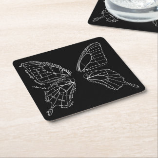 Anatomy Of A Butterfly Wing Vintage Diagram Square Paper Coaster
