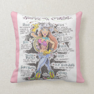 Anatomy of a Cowgirl -Throw Pillow