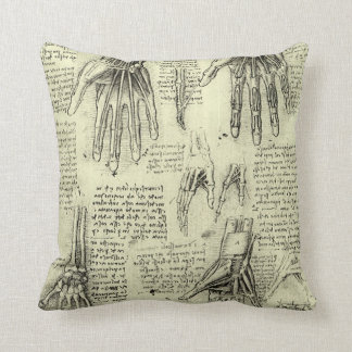 Anatomy of the Human Hand by Leonardo da Vinci Throw Pillow