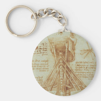 Anatomy of the Neck by Leonardo Da Vinci c. 1515 Basic Round Button Keychain