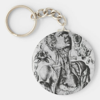 anatomy of  the respiratory system basic round button keychain