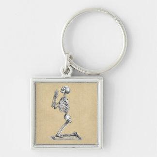 Anatomy Skeleton Illustration Silver-Colored Square Keychain