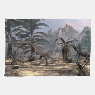 Anchisaurus dinosaurs - 3D render Kitchen Towel