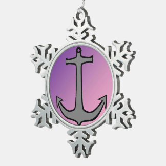 Anchor05 Snowflake Pewter Christmas Ornament