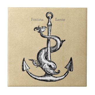 Anchor and Dolphin - Festina Lente Ceramic Tile