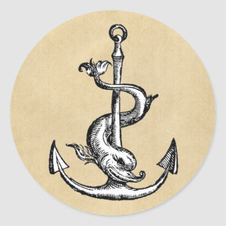 Anchor and Dolphin - Festina Lente Classic Round Sticker