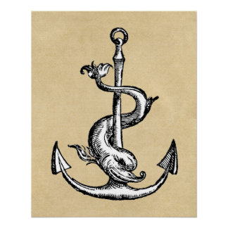 Anchor and Dolphin - Festina Lente Perfect Poster