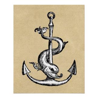 Anchor and Dolphin - Festina Lente Poster